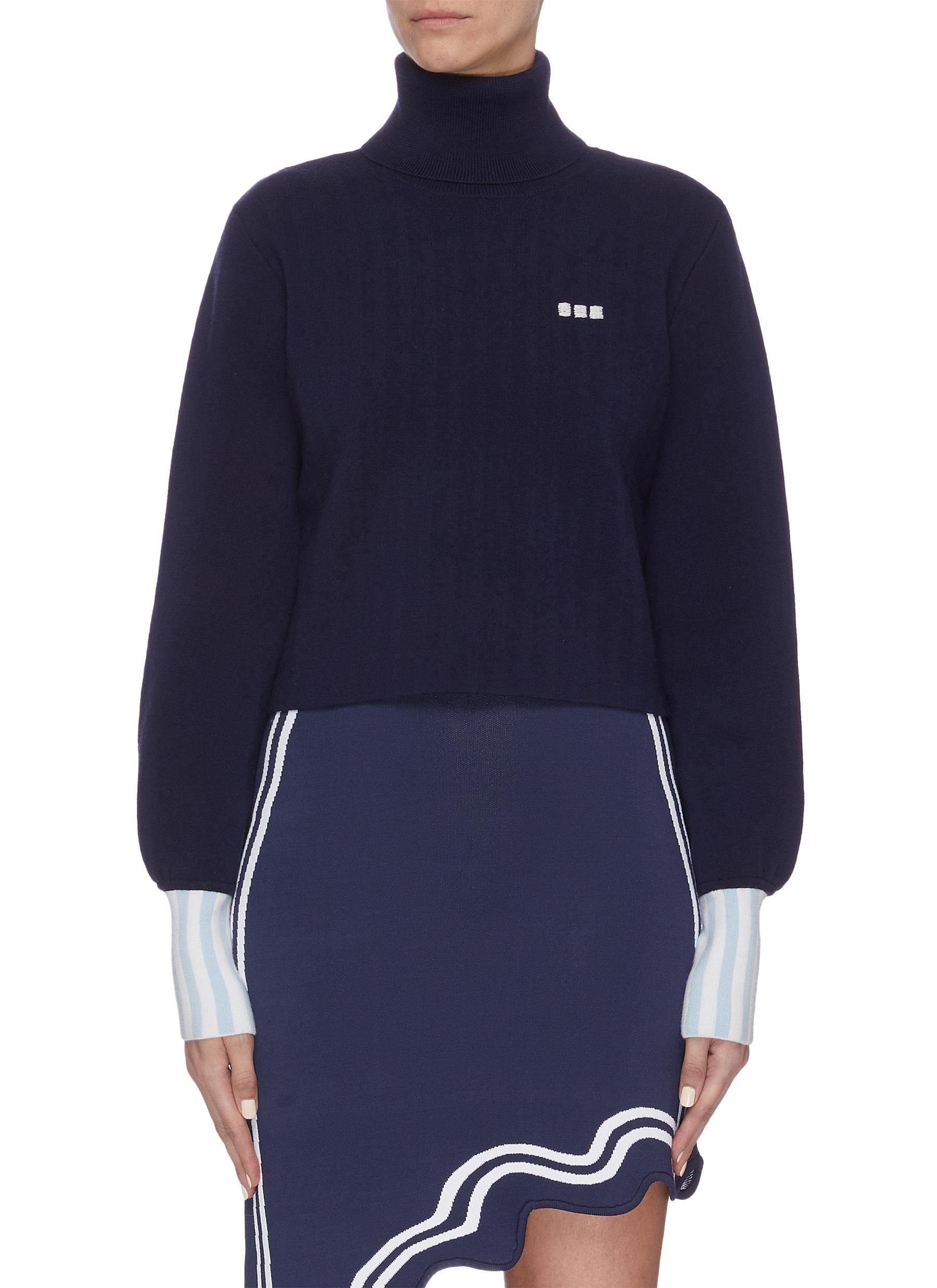Buy Ph5 Knitwear Contrast cuff bishop sleeve cropped turtleneck sweater