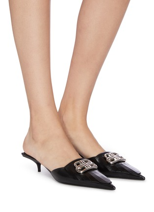 Figure View - Click To Enlarge - BALENCIAGA - 'Fringe Knife' leather mules
