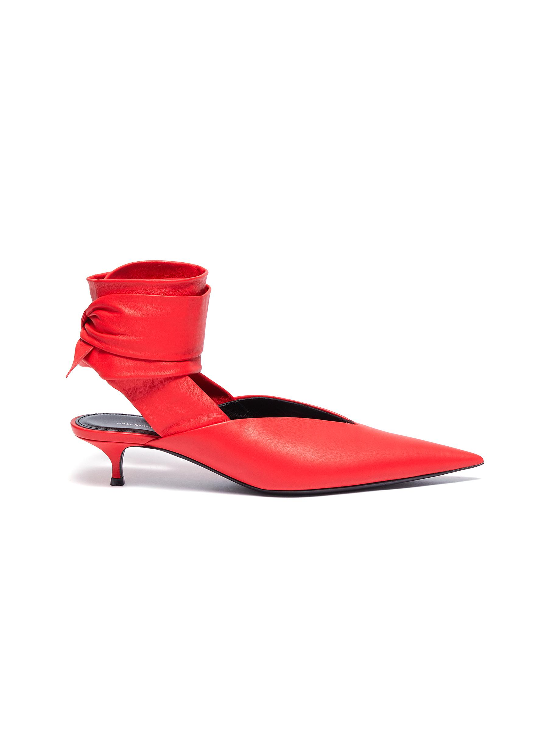 Dance Knife wraparound ankle tie leather mules by Balenciaga