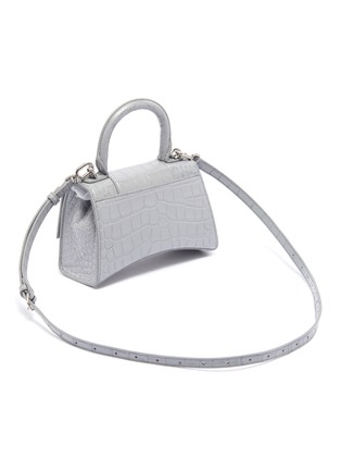 Detail View - Click To Enlarge - BALENCIAGA - 'Hourglass' XS top handle croc embossed leather bag