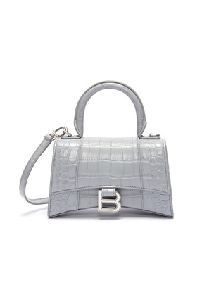 Main View - Click To Enlarge - BALENCIAGA - 'Hourglass' XS top handle croc embossed leather bag