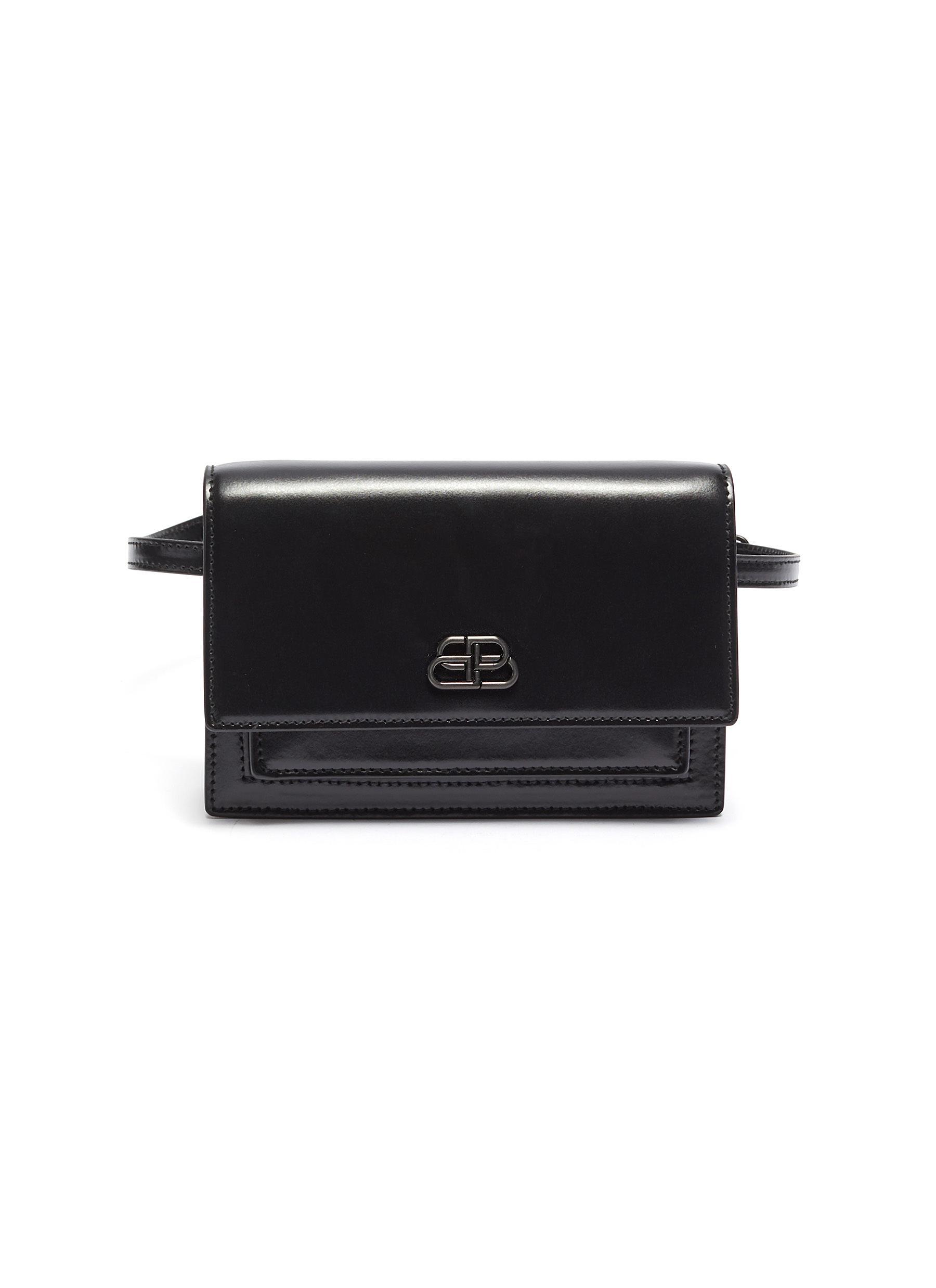 Balenciaga 'sharp Xs' Logo AppliquÉ Leather Bum Bag