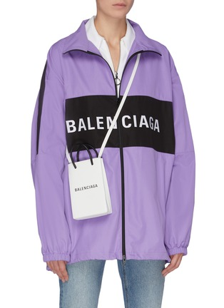 Figure View - Click To Enlarge - BALENCIAGA - Logo print leather tote