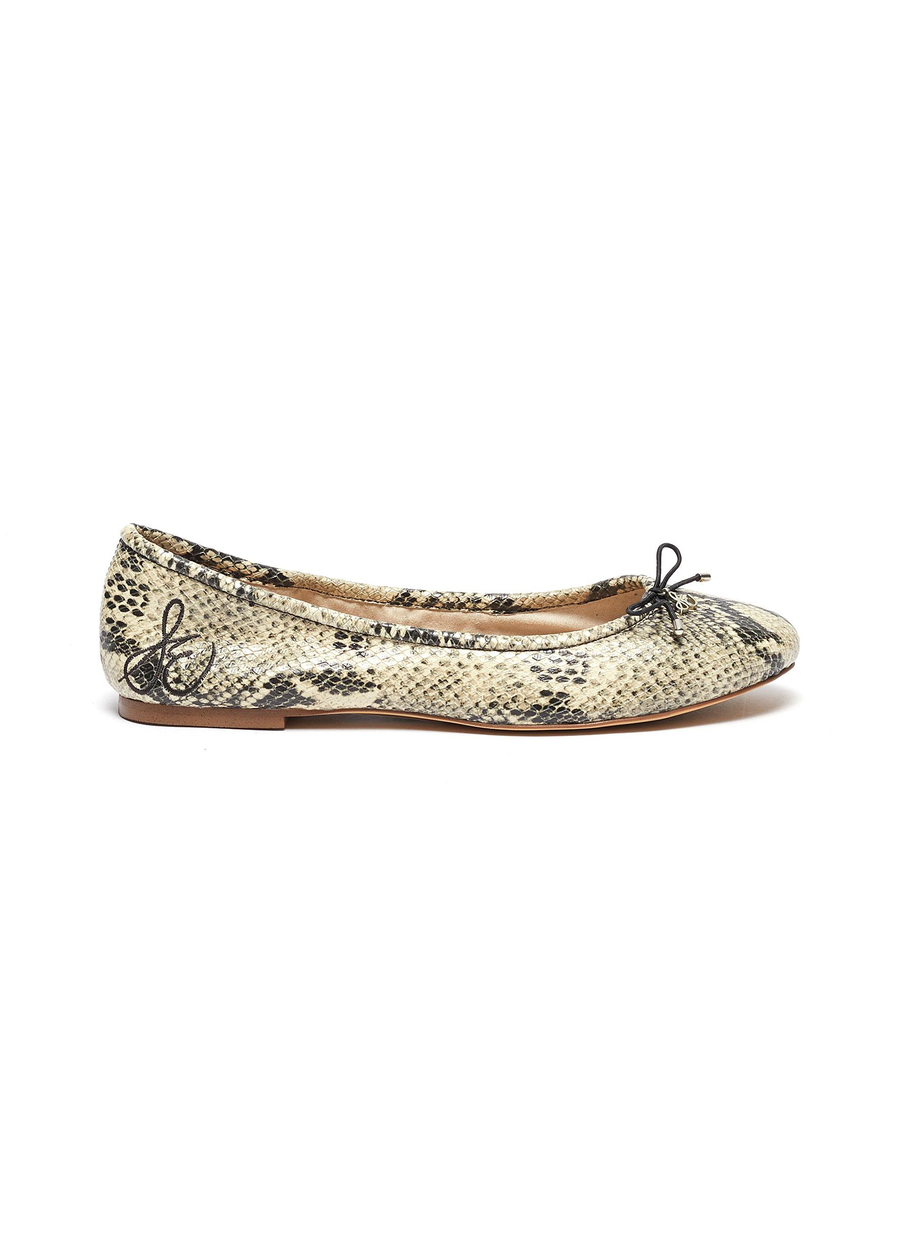 Felicia snake-embossed leather ballet flats by Sam Edelman