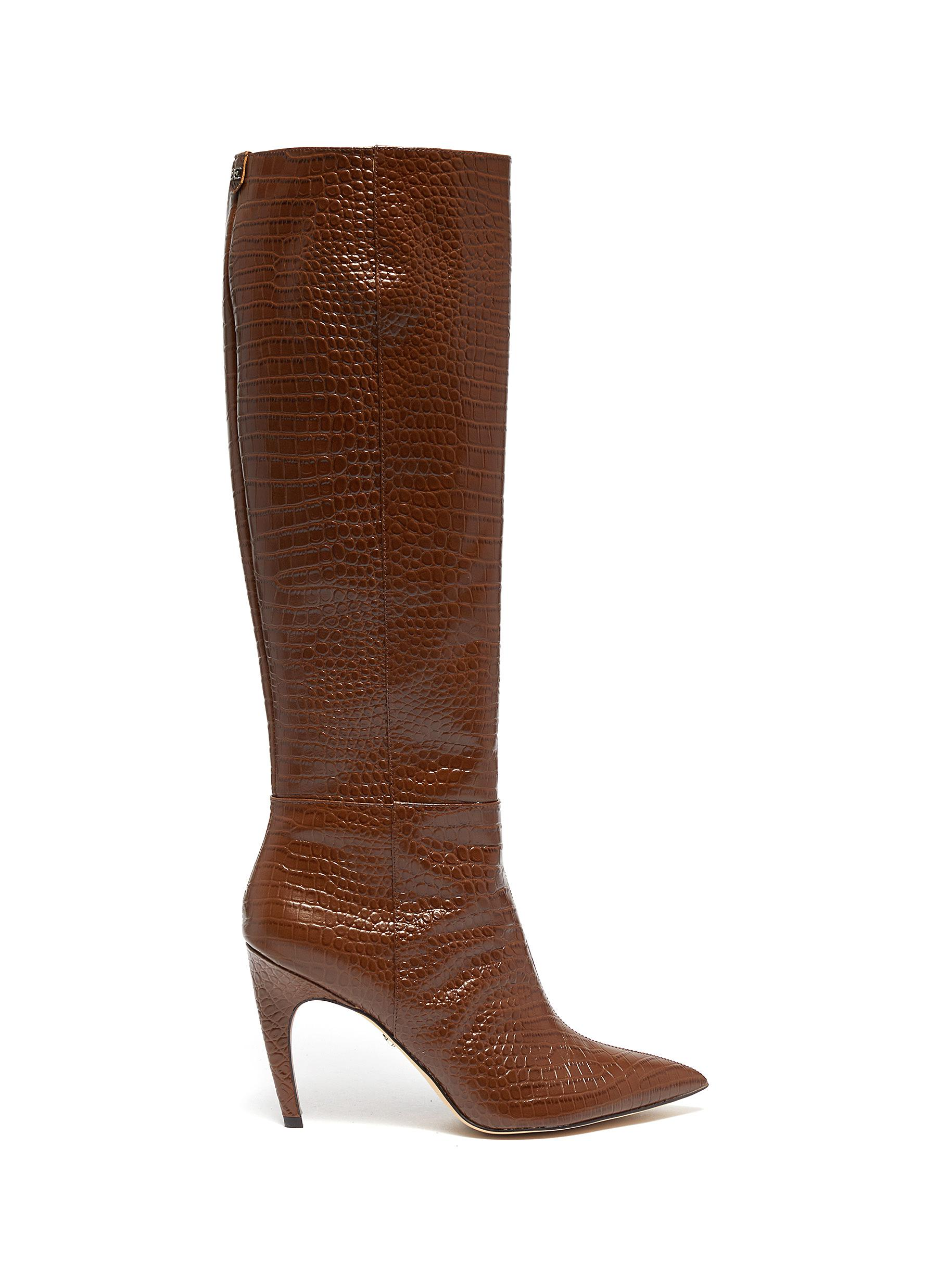 Fraya croc-embossed leather knee high boots by Sam Edelman