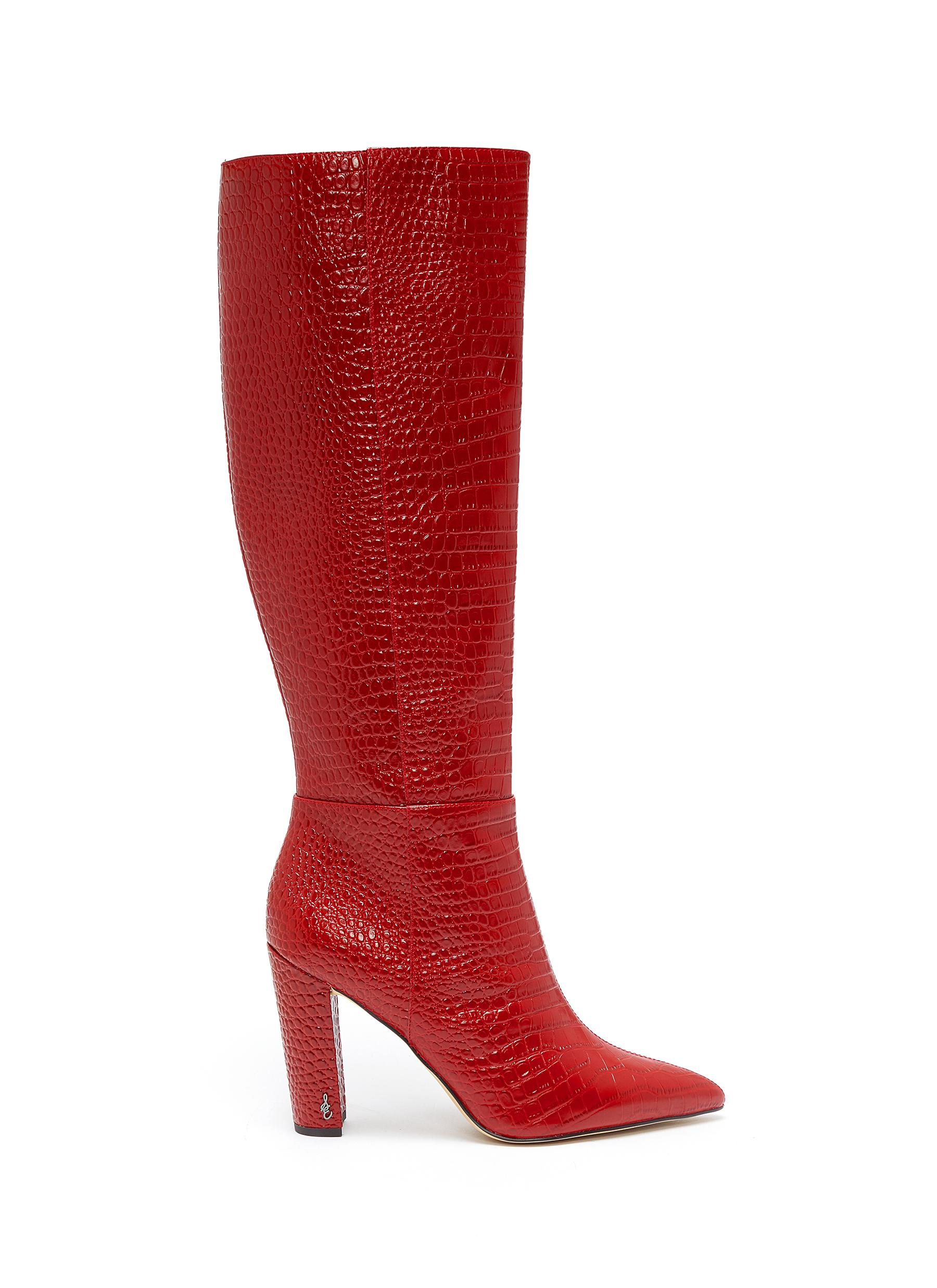Raakel croc embossed leather knee high boots by Sam Edelman