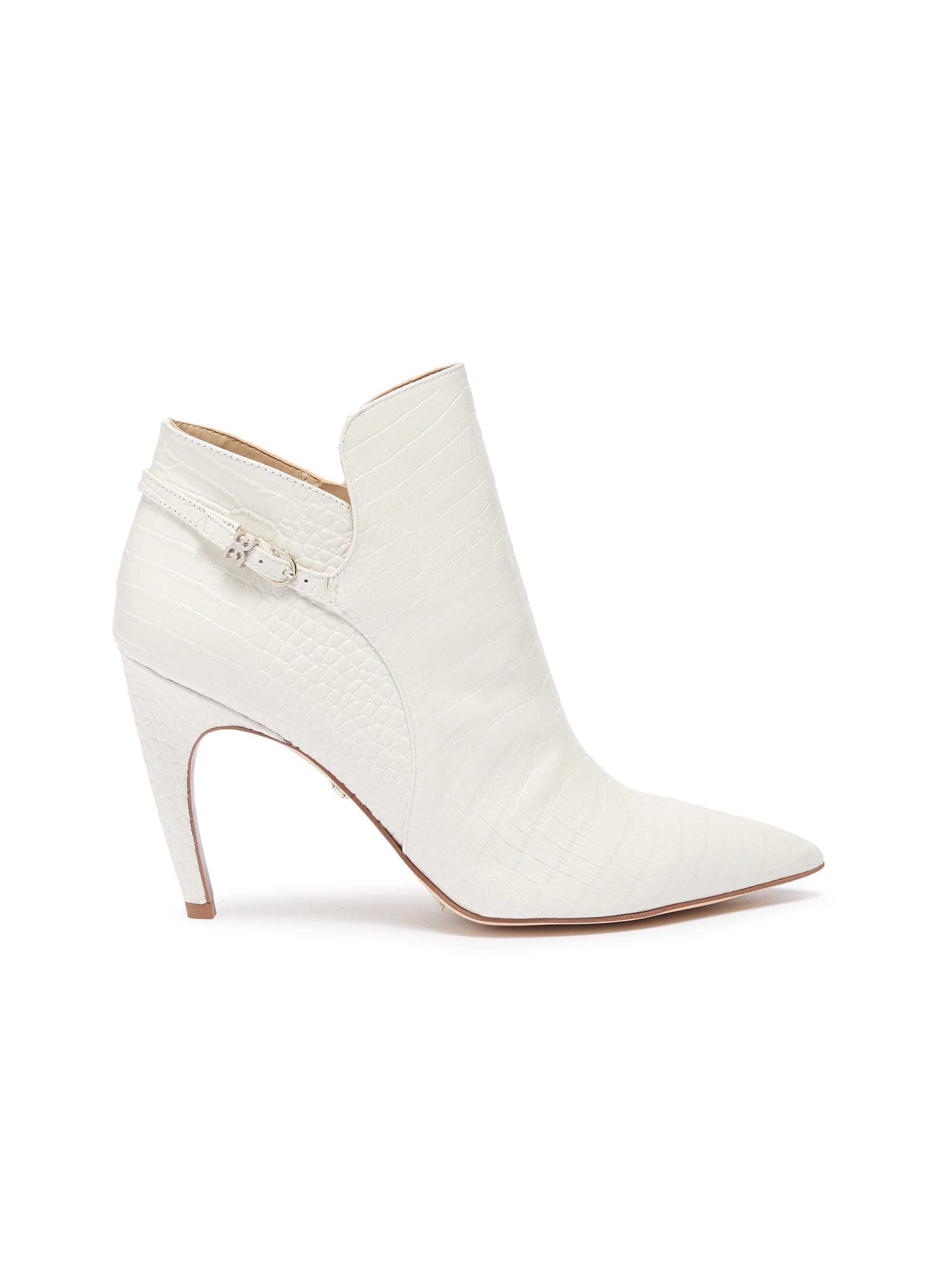 Fiora croc-embossed leather ankle boots by Sam Edelman