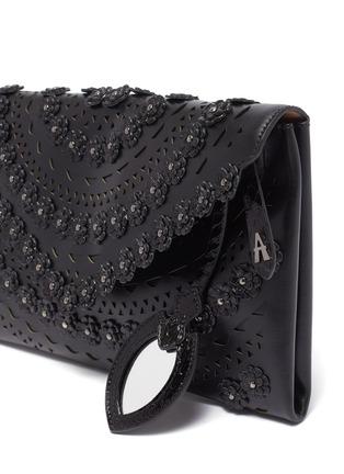 Detail View - Click To Enlarge - AZZEDINE ALAÏA - 'Oum' floral stud geometric lasercut leather envelope clutch