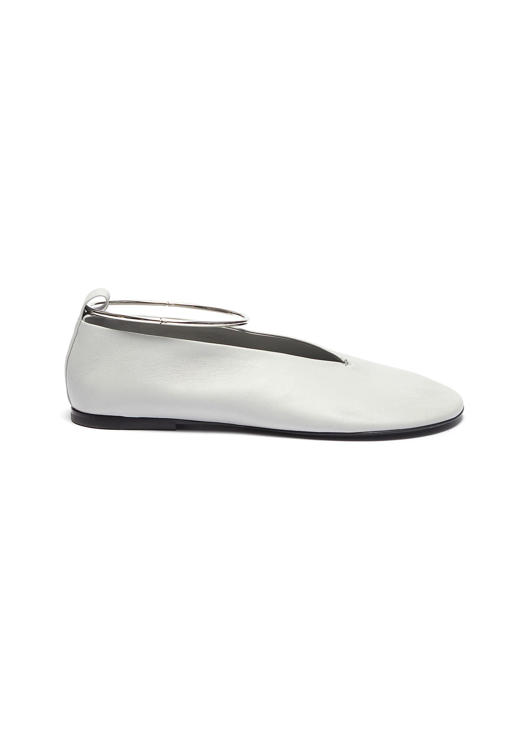 Ankle cuff leather ballet flats by Jil Sander