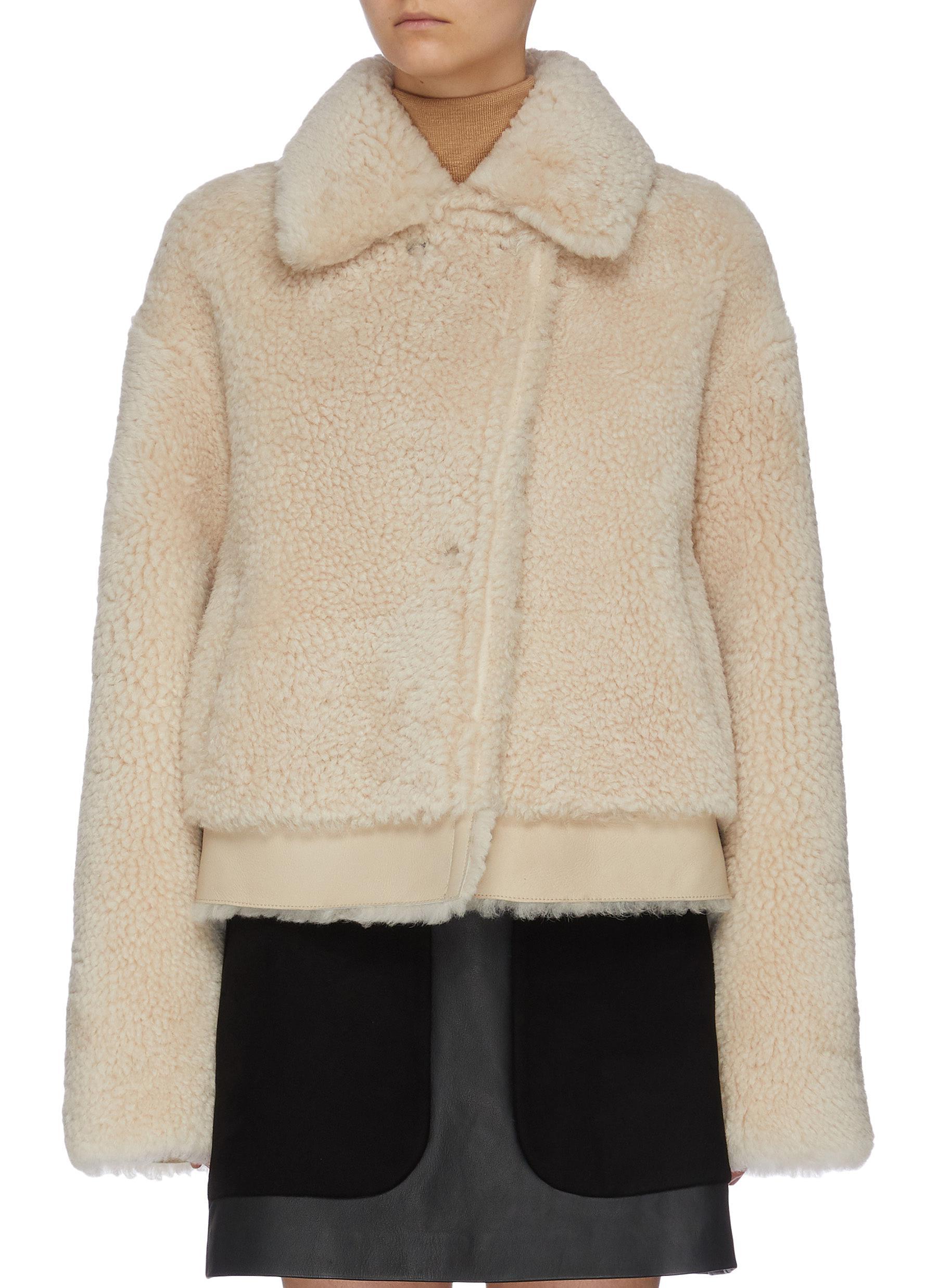 shop Common Leisure 'Iris' Merino Shearling Aviator Jacket online