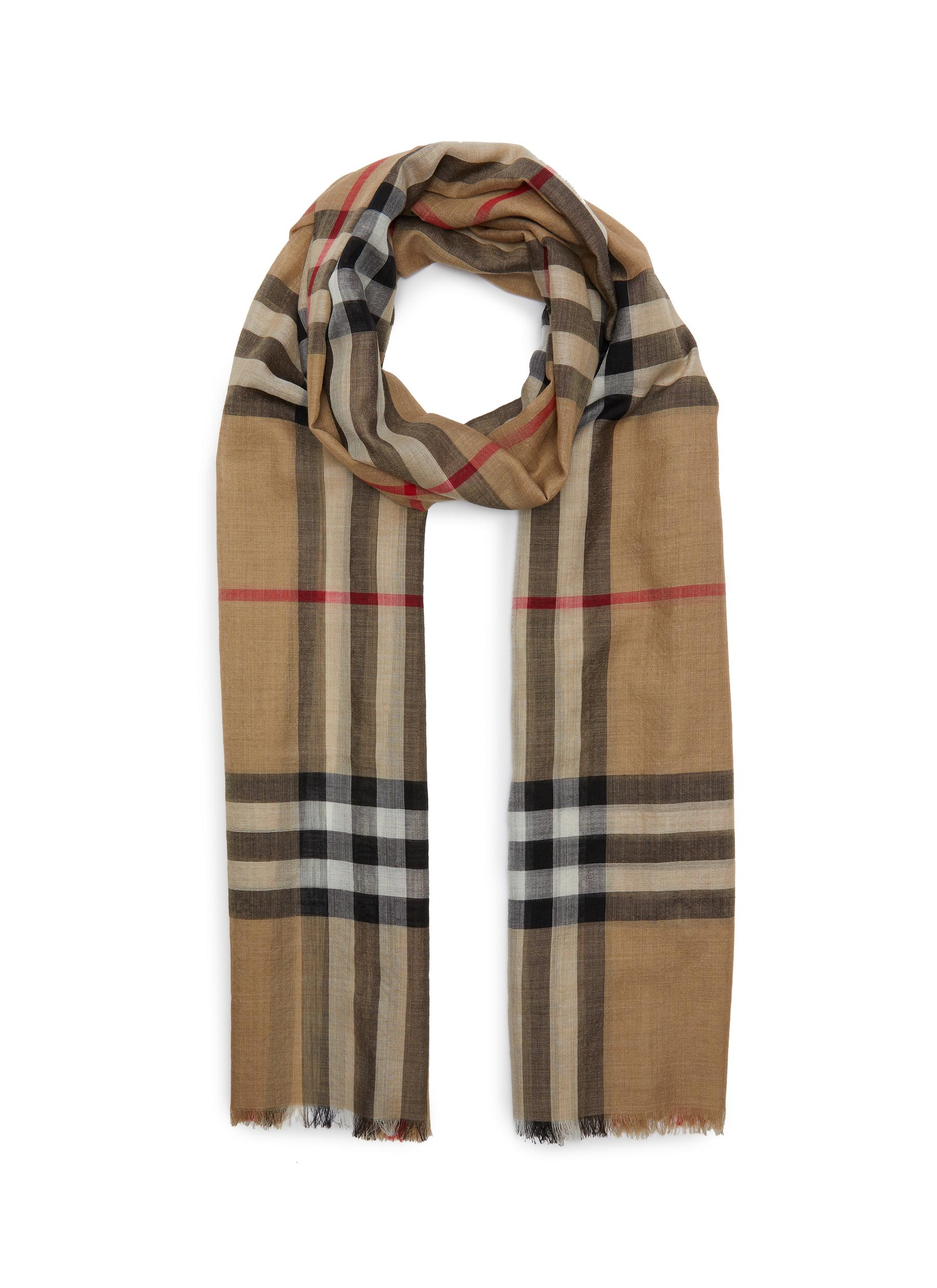 Burberry GIANT CHECK WOOL-MULBERRY SILK SCARF
