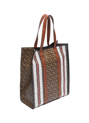 Detail View - Click To Enlarge - BURBERRY - Monogram stripe e-canvas tote
