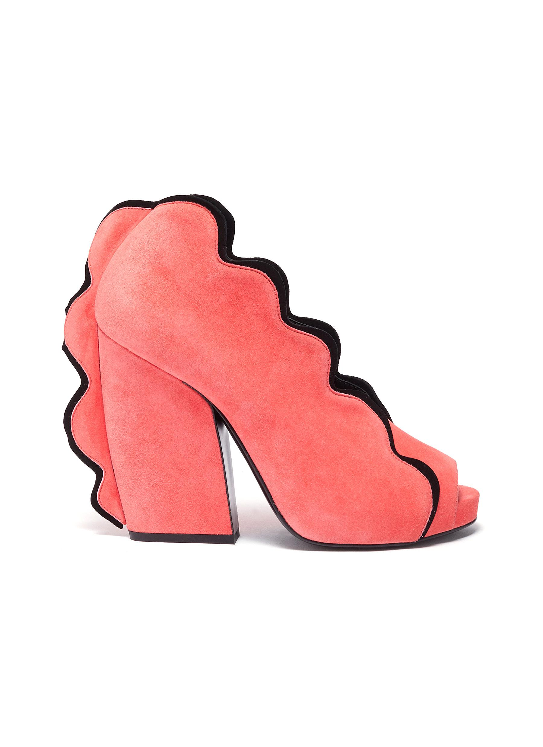 Pierre Hardy High Heels Sottsass scallop-trimmed suede sandals