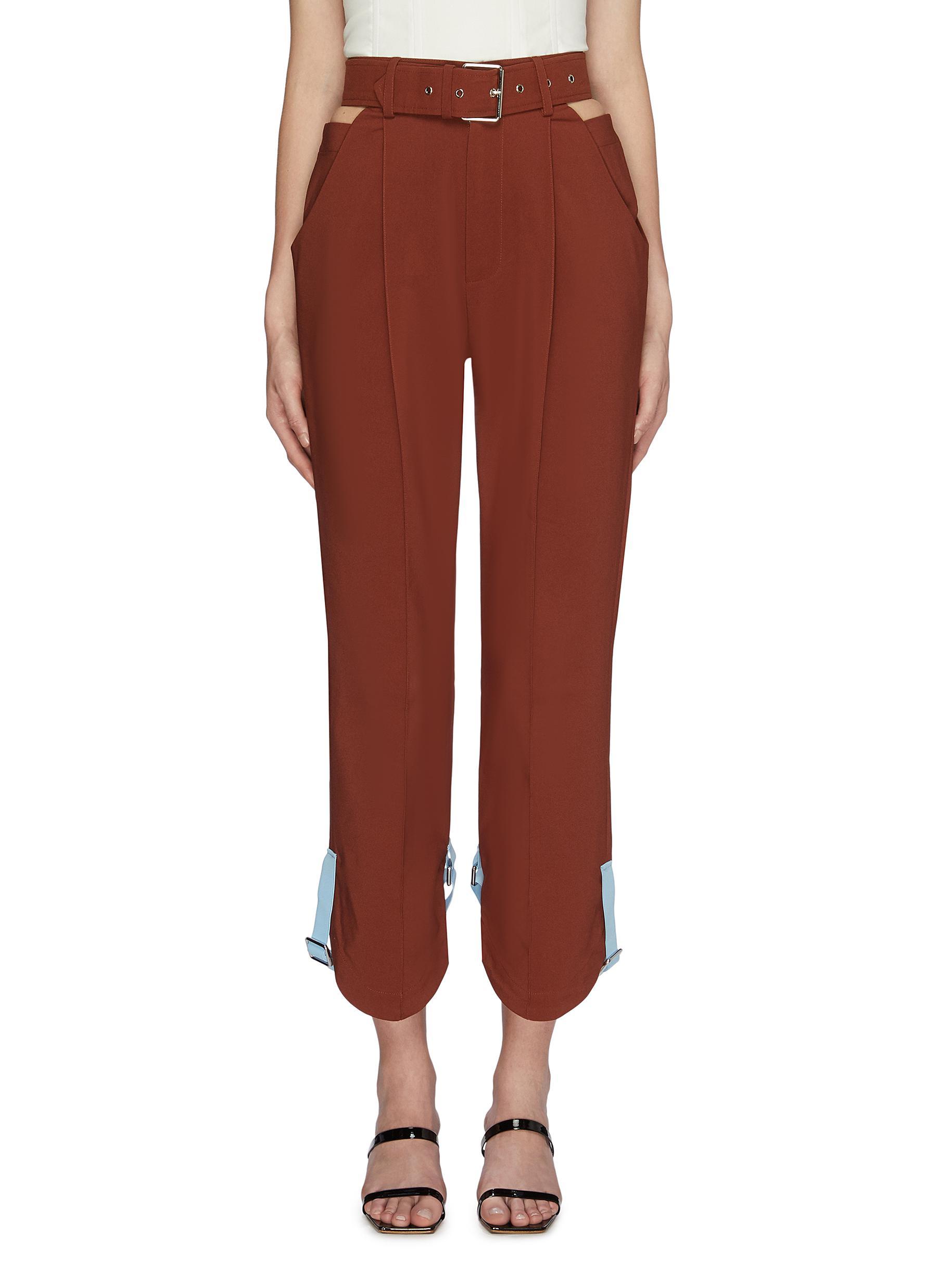 Belted colourblock cuff strap cutout side carrot pants by Maya Li
