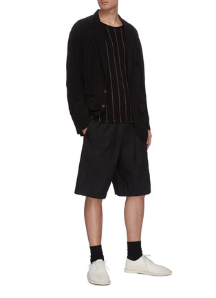 Figure View - Click To Enlarge - ZIGGY CHEN - Drawstring panelled shorts
