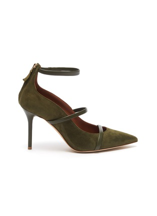 Main View - Click To Enlarge - MALONE SOULIERS - 'Robyn' ankle strappy suede pumps