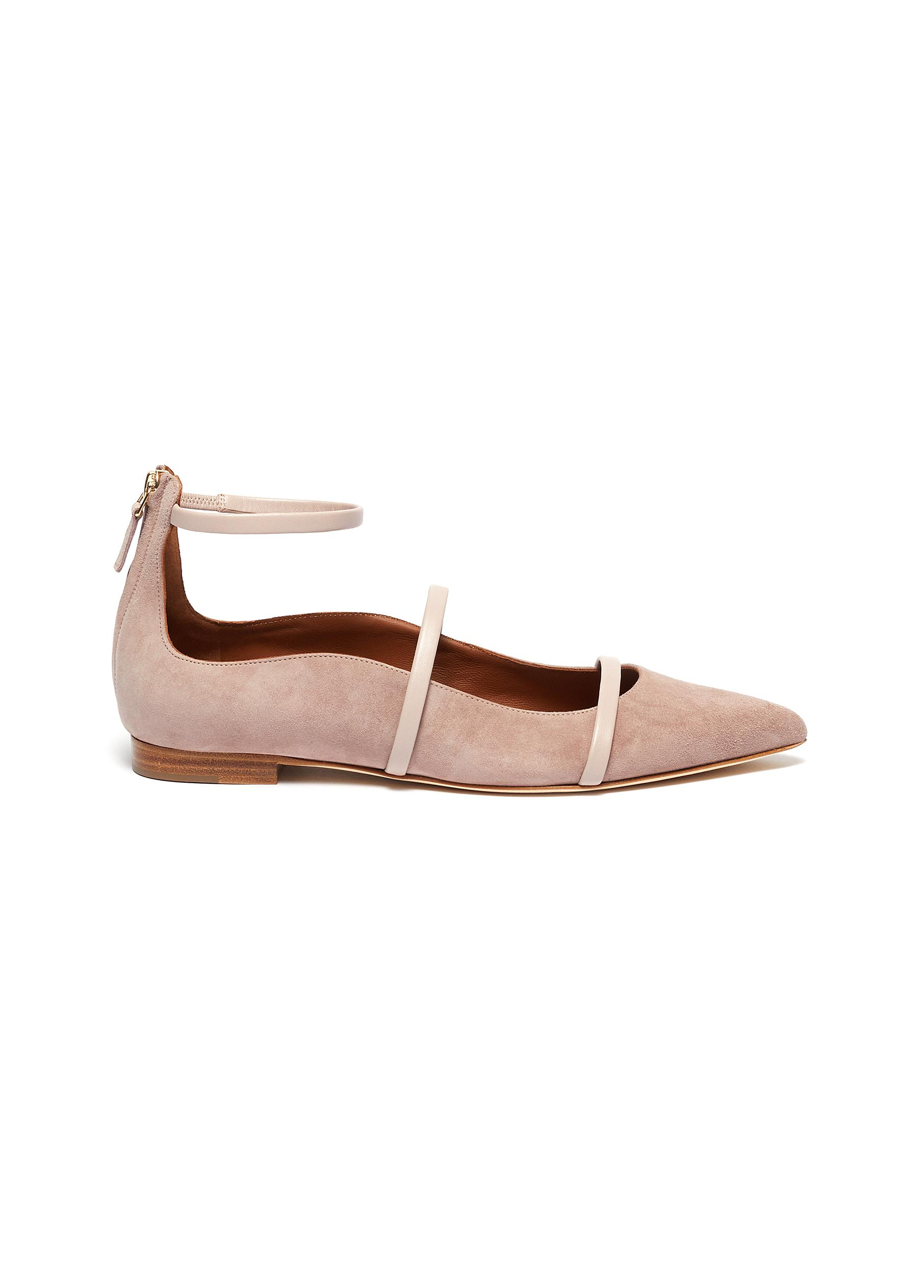 Robyn ankle strappy leather flats by Malone Souliers