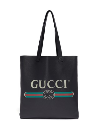 Main View - Click To Enlarge - GUCCI - Logo print leather tote bag