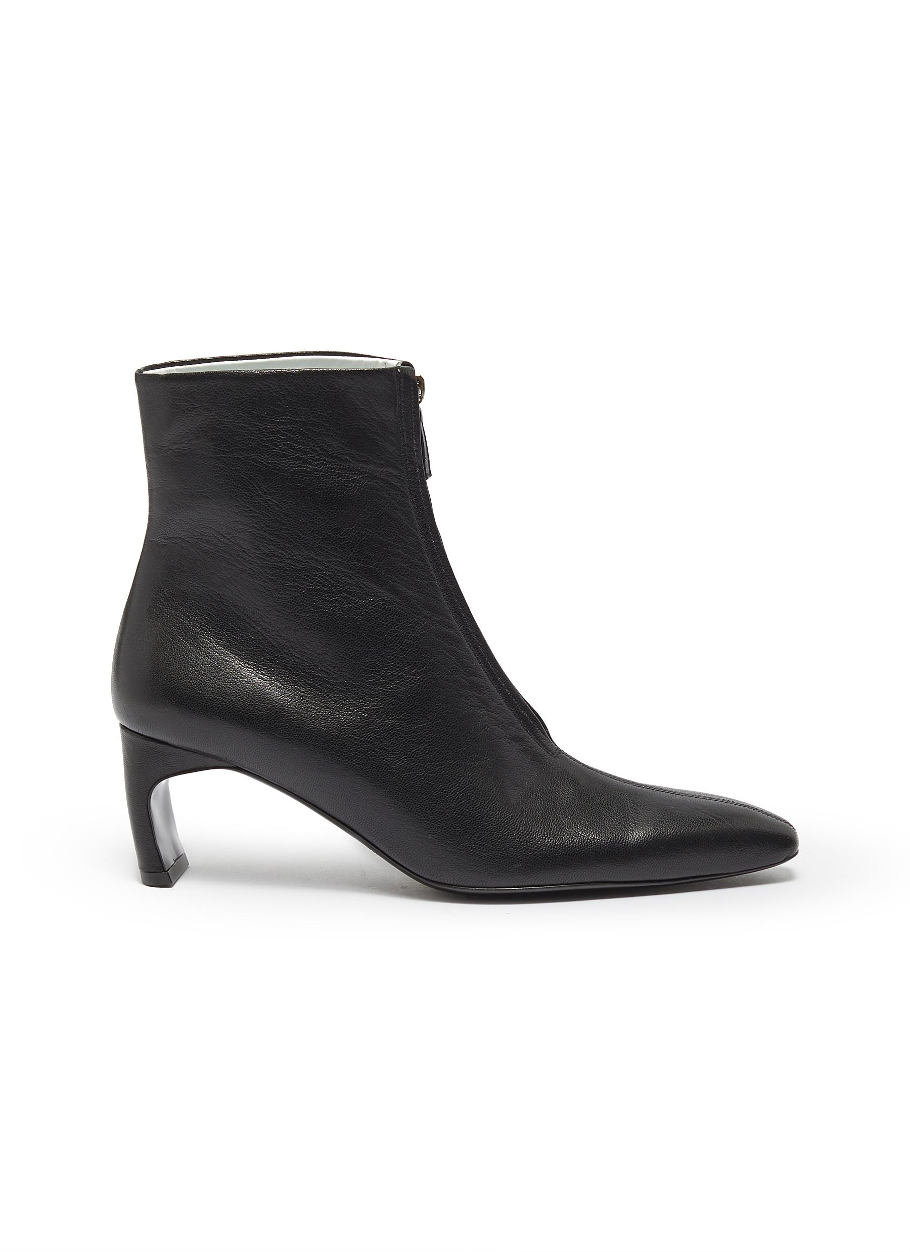 Zip front leather ankle boots by Rosetta Getty