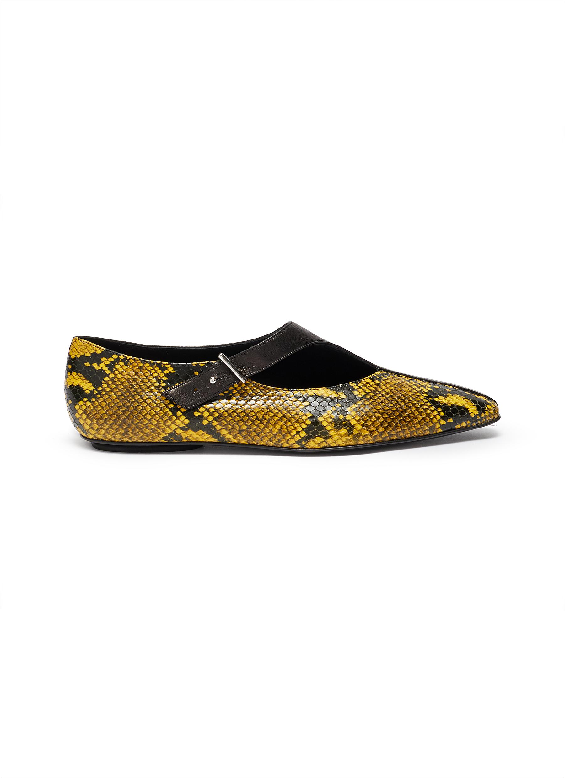Python embossed panel cutout buckled leather flats by Rosetta Getty