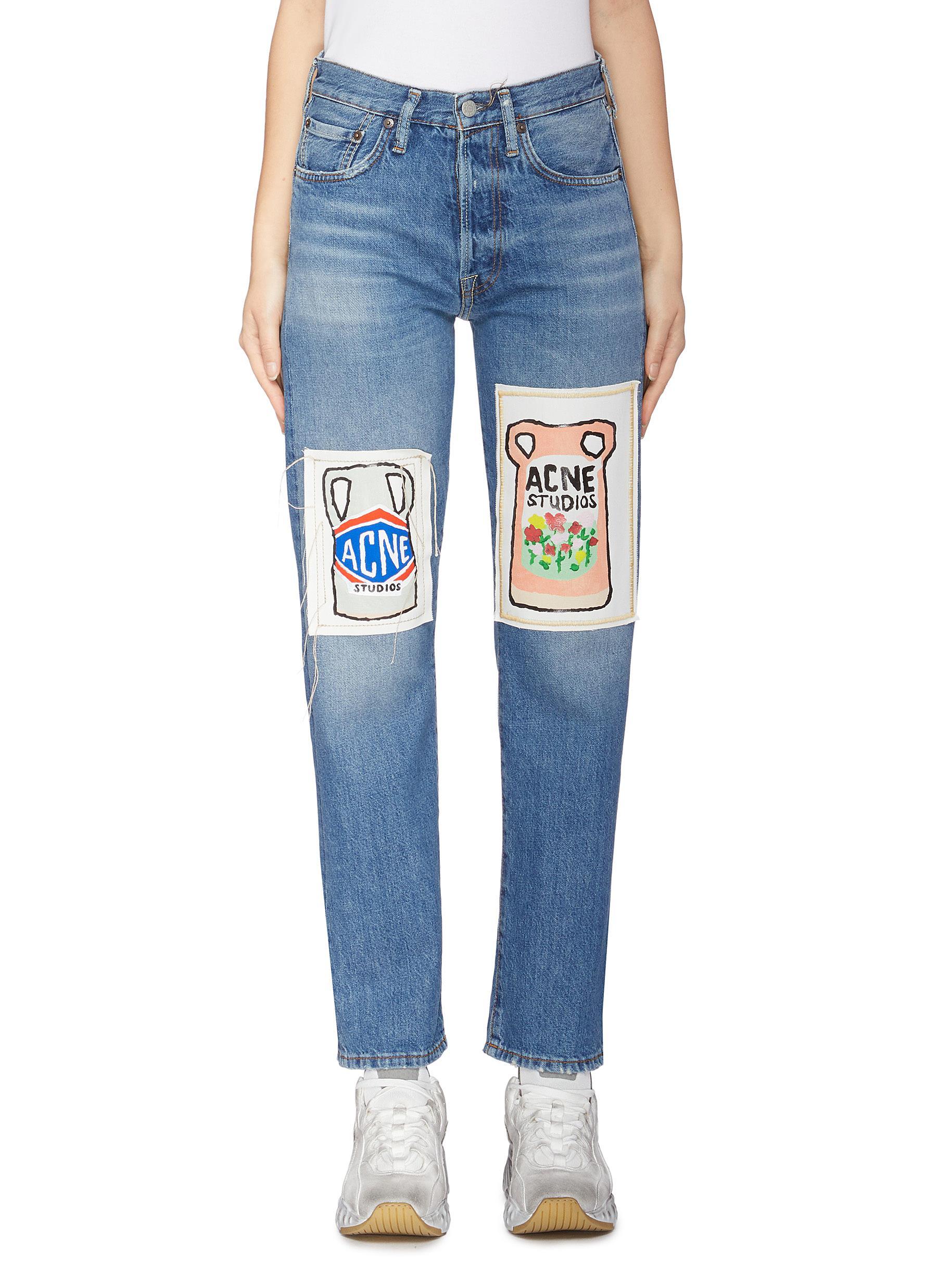 Vase graphic appliqué jeans by Acne Studios
