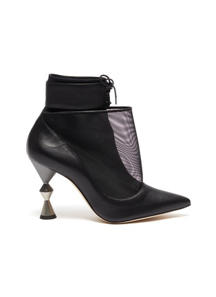 Main View - Click To Enlarge - MANOLO BLAHNIK - 'Lacus' leather mesh ankle boots