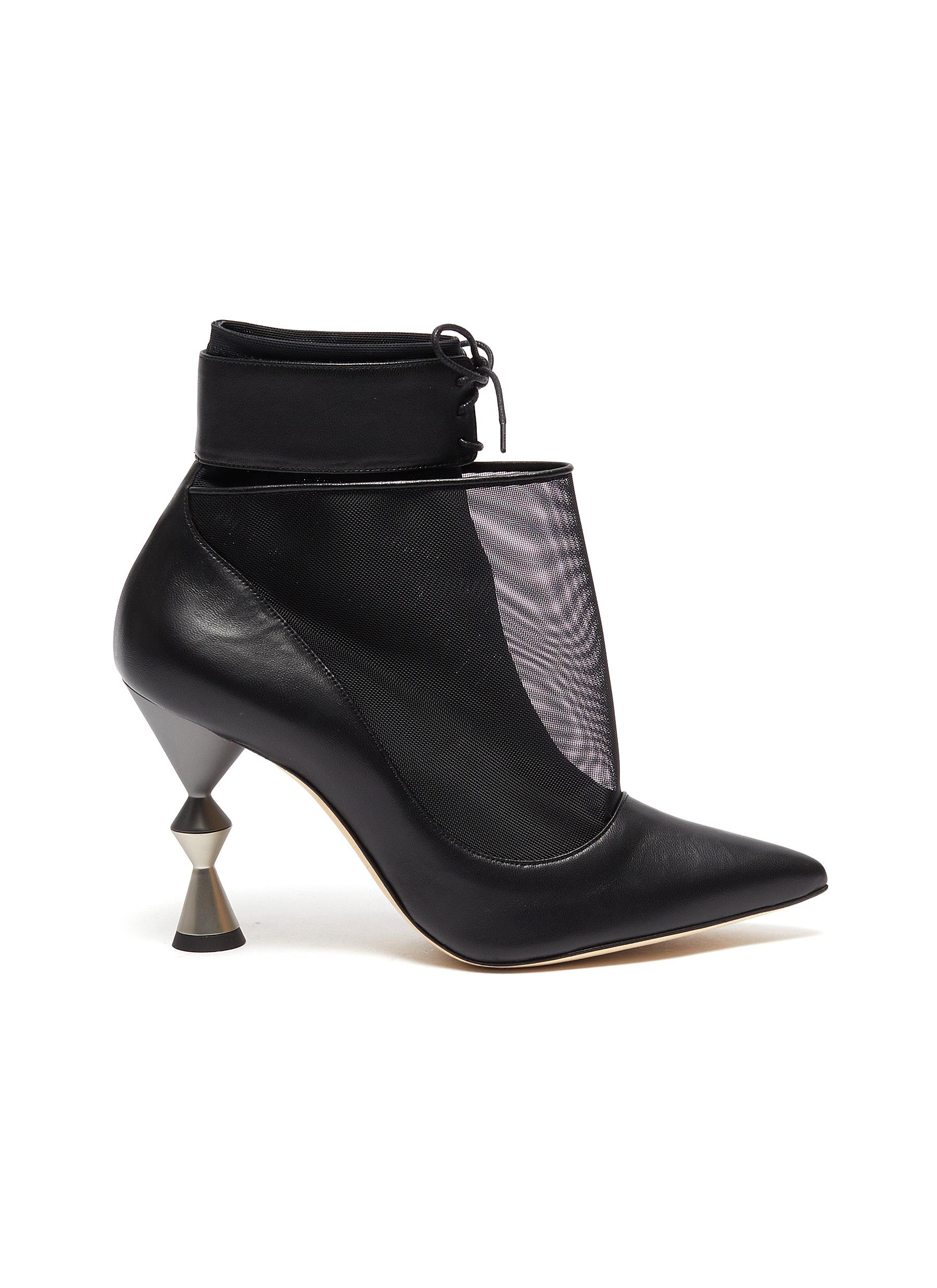 Manolo Blahnik Boots Lacus leather mesh ankle boots