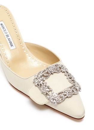 Detail View - Click To Enlarge - MANOLO BLAHNIK - 'Maysale 50' Swarovski crystal brooch Crep de Chine mules