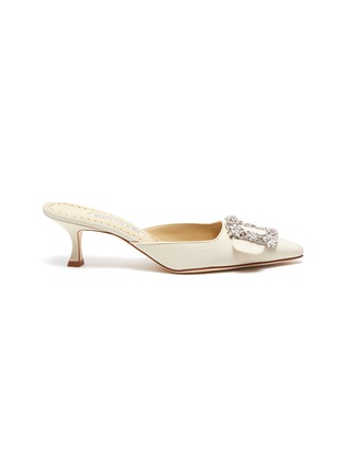 Main View - Click To Enlarge - MANOLO BLAHNIK - 'Maysale 50' Swarovski crystal brooch Crep de Chine mules