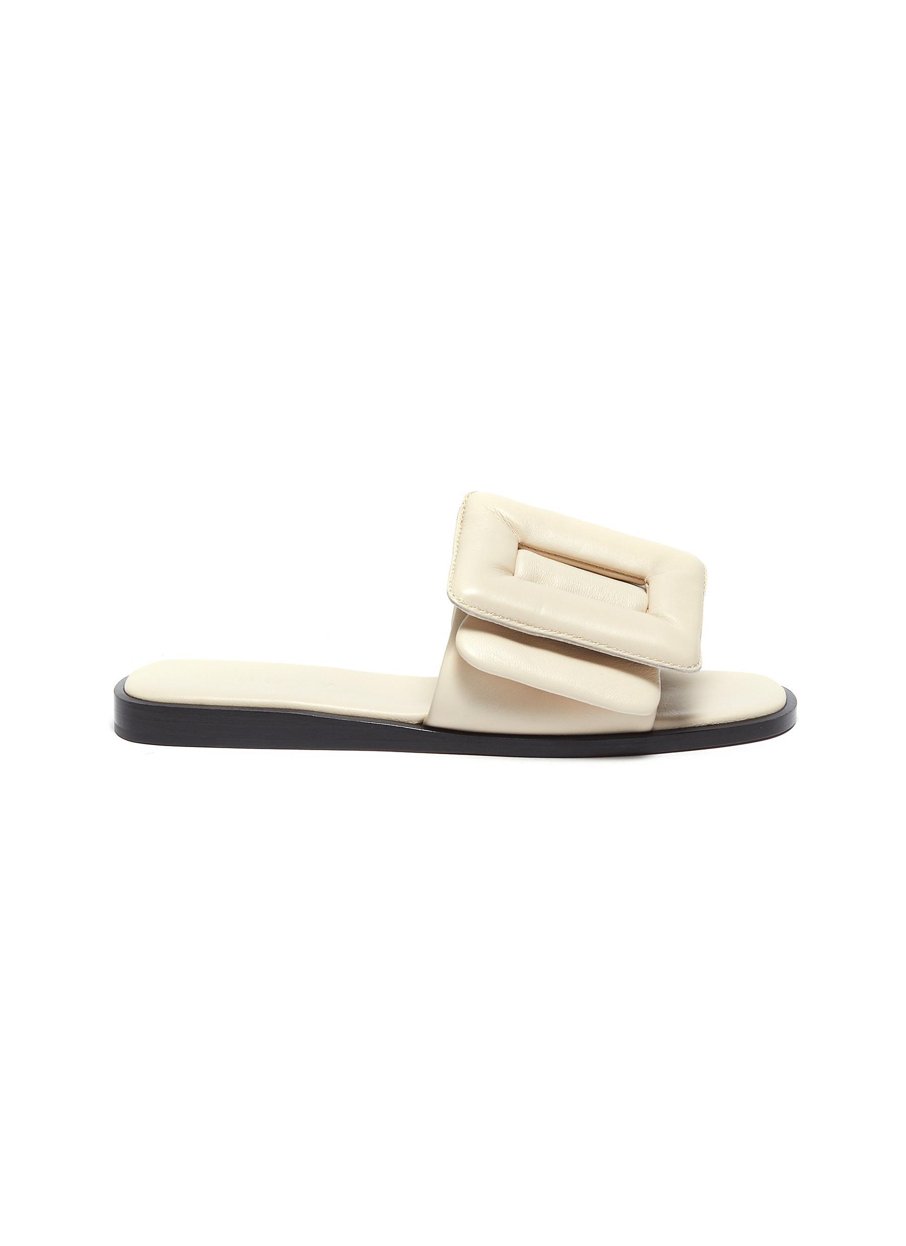 Boyy Flats Puffy single band buckle leather sandal
