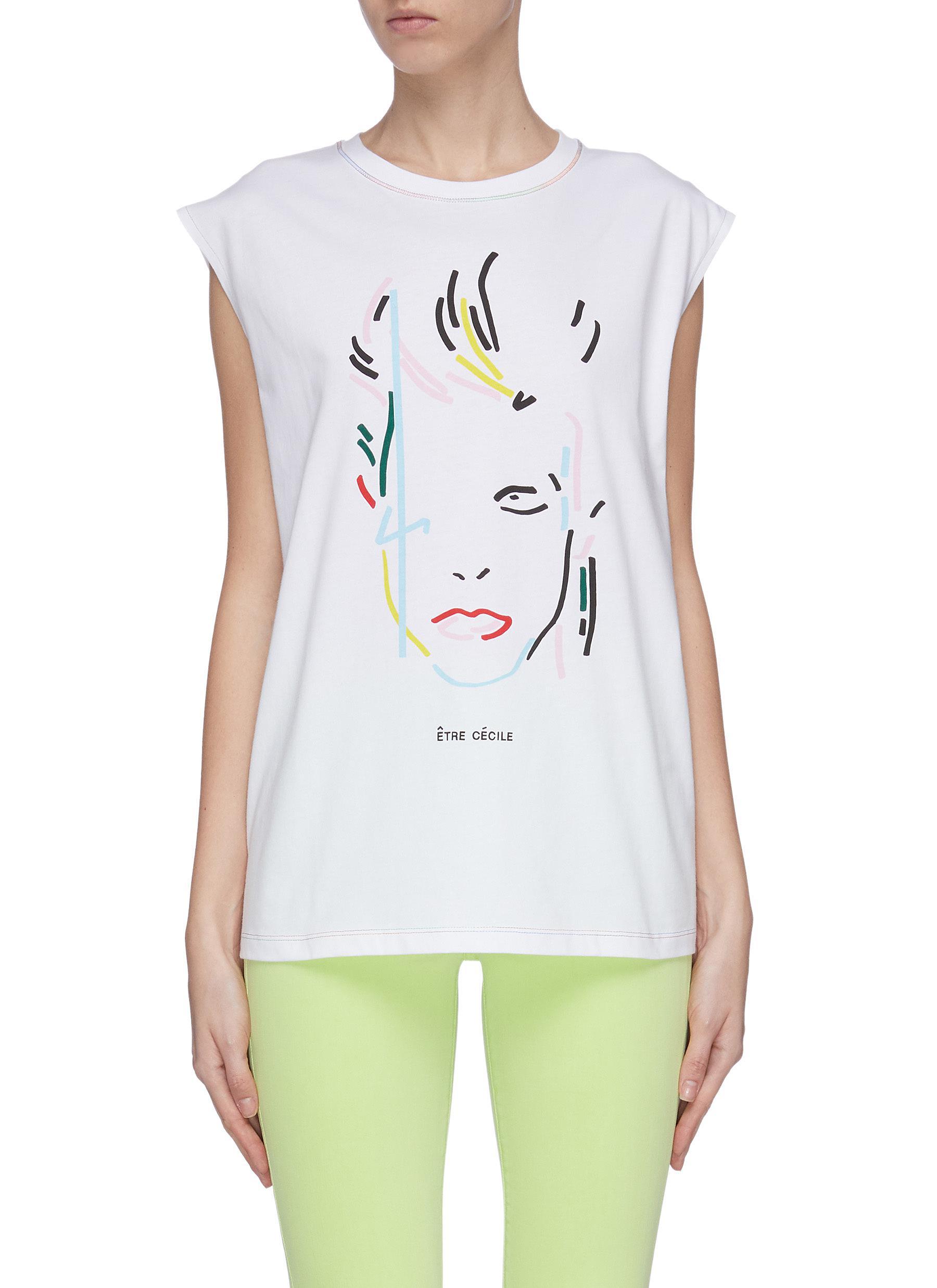 shop Être Cécile Rainbowie bolt print boyfriend tank top online