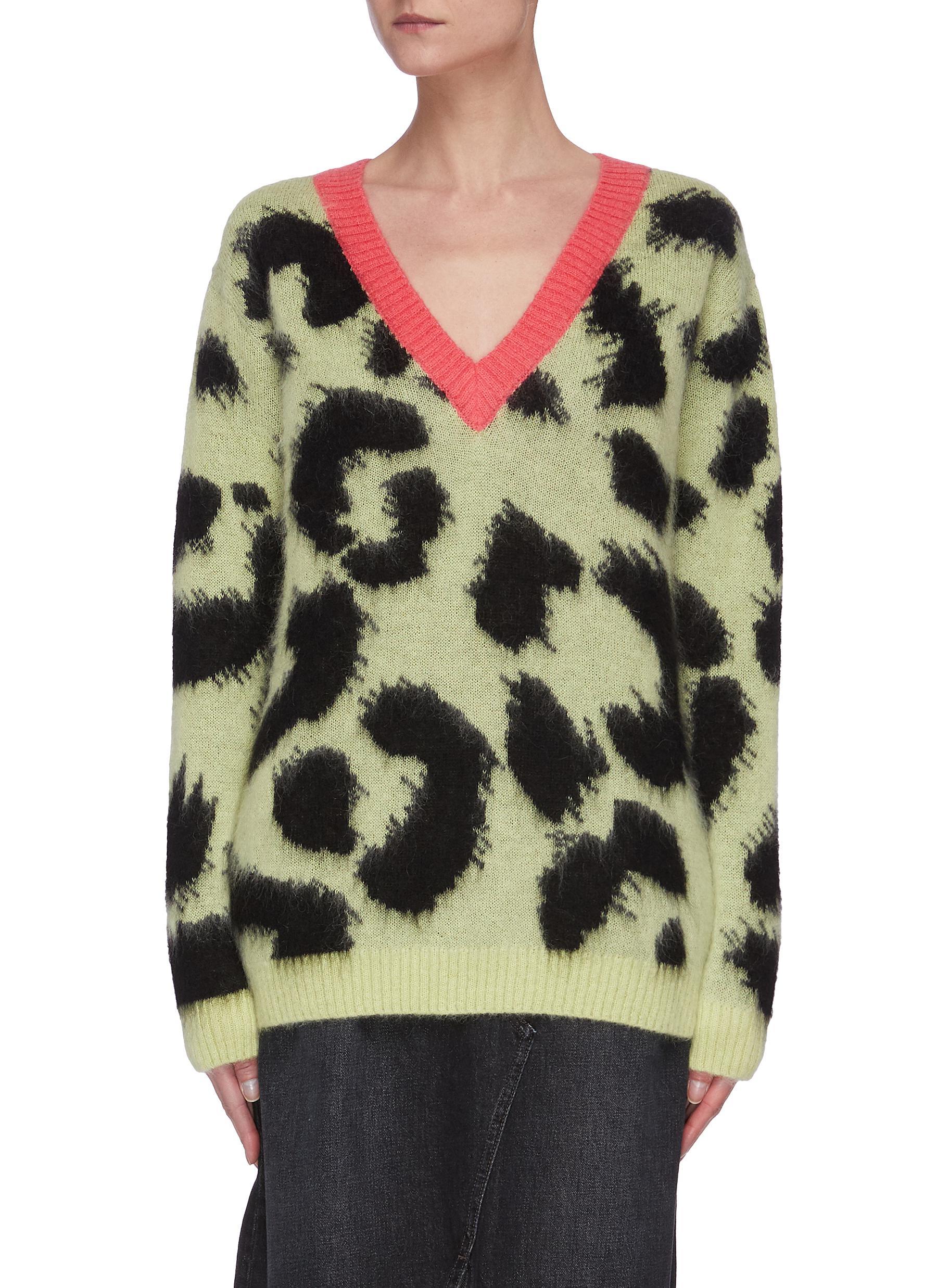 shop Être Cécile Leopard Print V-neck Sweater online