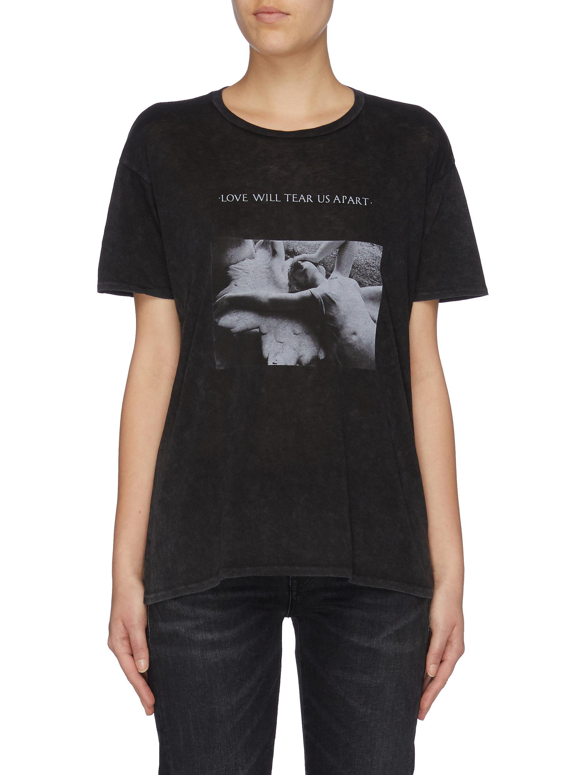 Joy Division slogan photographic print cotton-cashmere boy T-shirt by R13