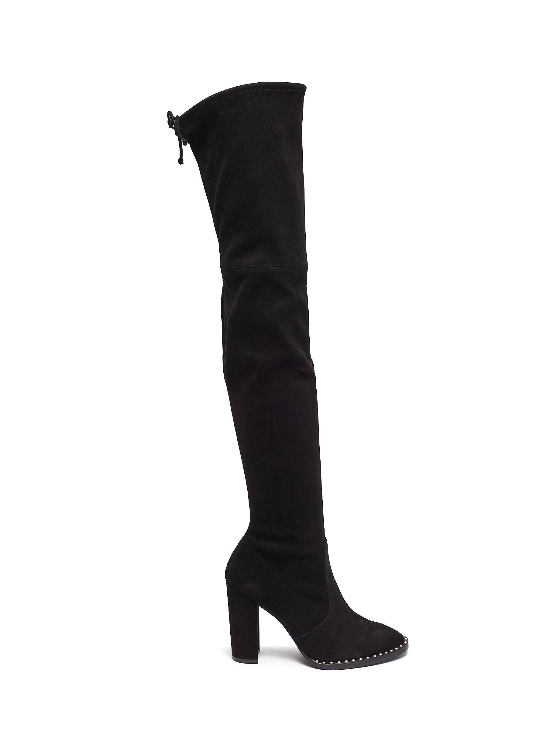 Winslet Pearl stretch suede thigh high boots by Stuart Weitzman