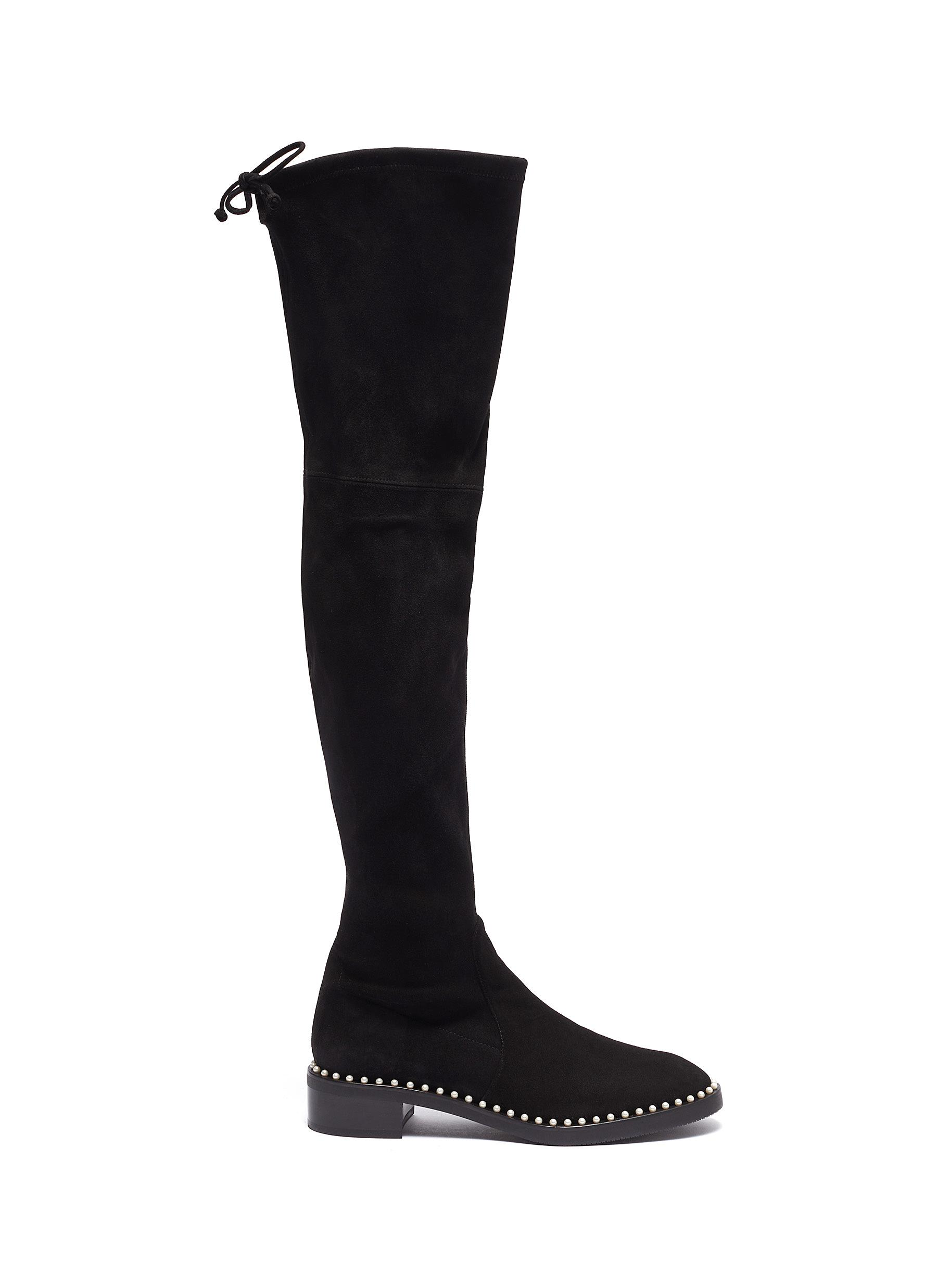 Lowland faux pearl welt embellished thigh high suede boots by Stuart Weitzman
