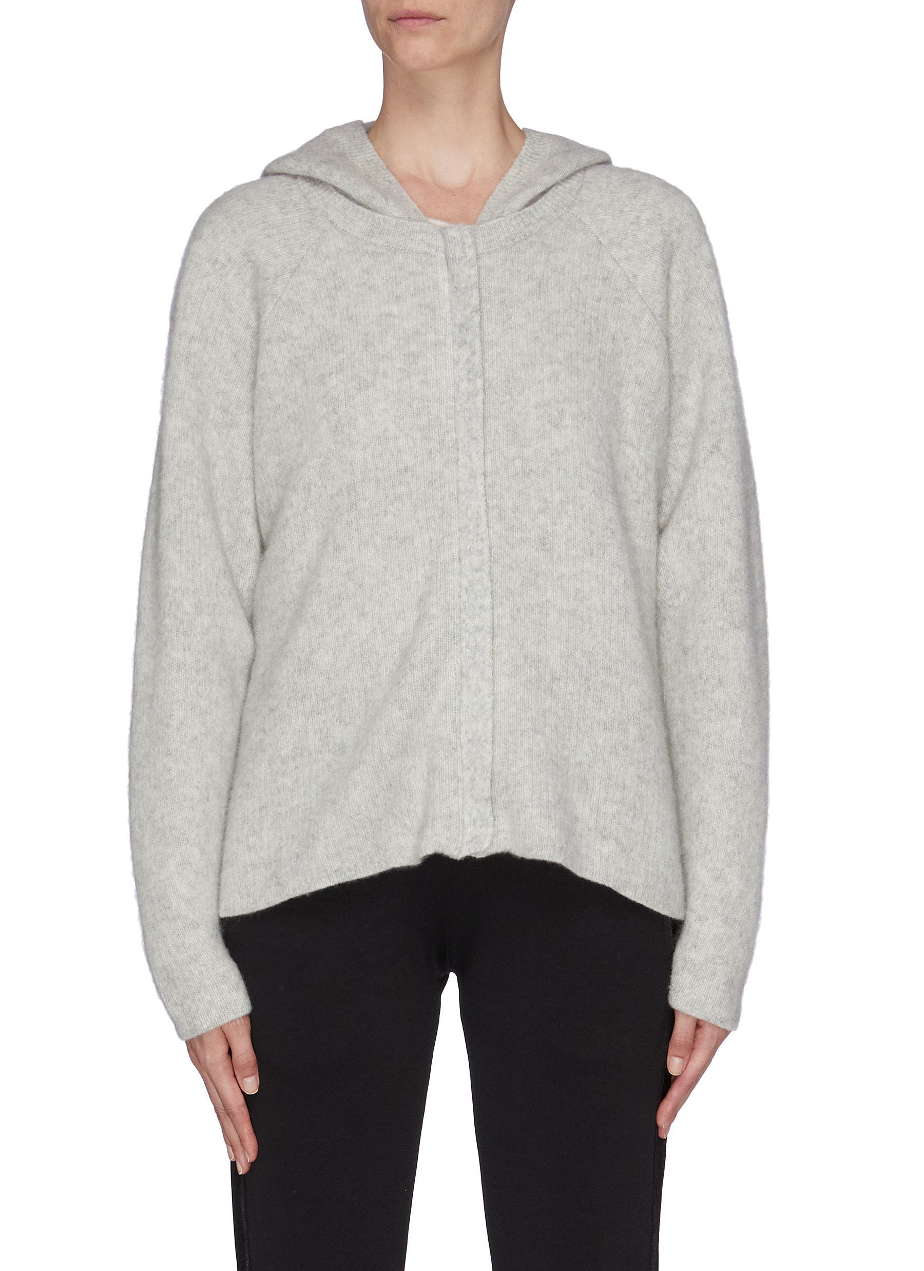 shop James Perse Cropped zip rib knit hoodie online