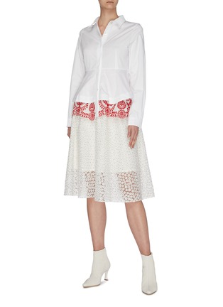 Figure View - Click To Enlarge - JONATHAN LIANG - Sweet alyssum floral embroidered skirt