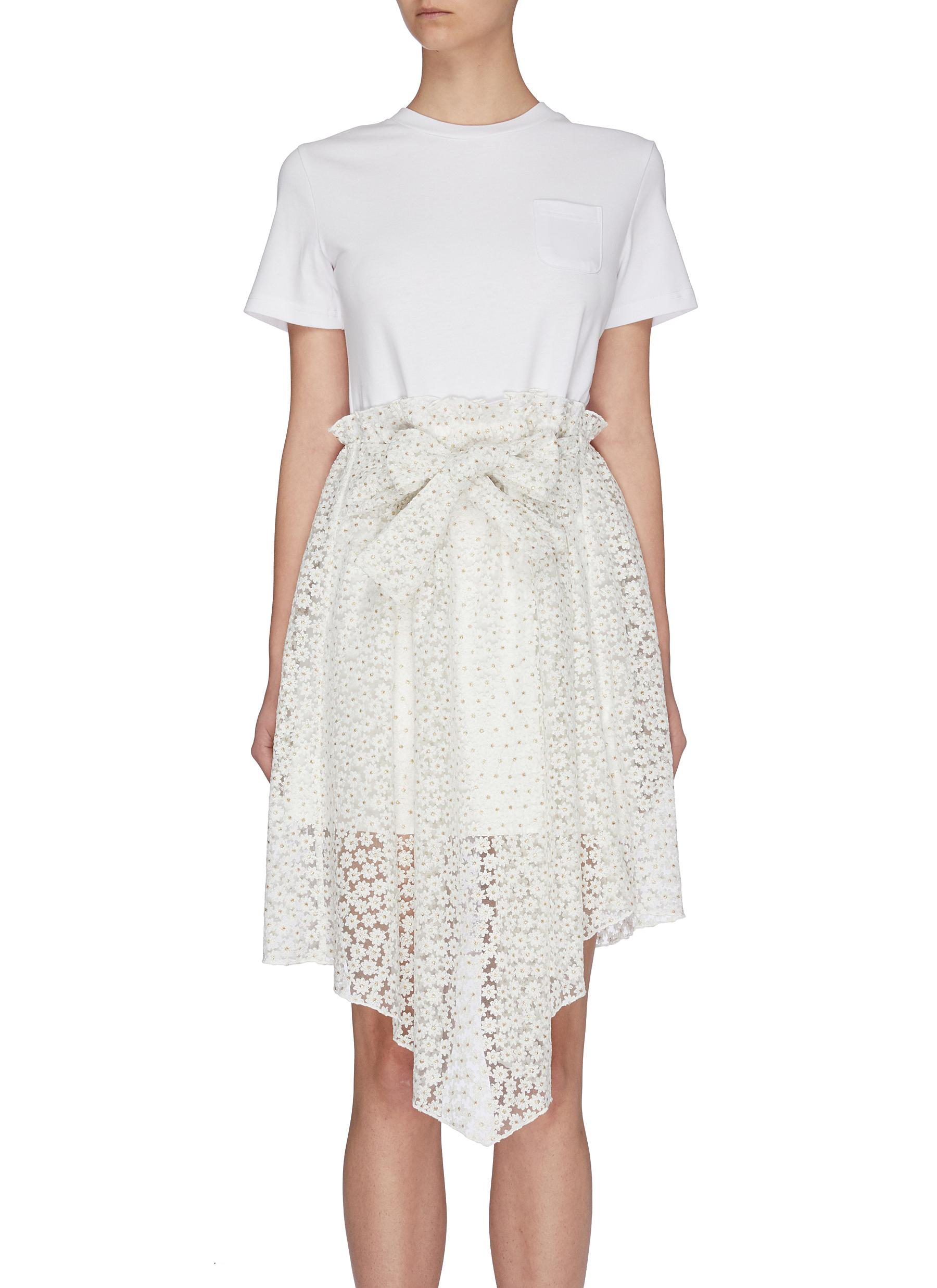 shop Jonathan Liang Asymmetric sweet alyssum floral embroidered T-dress online