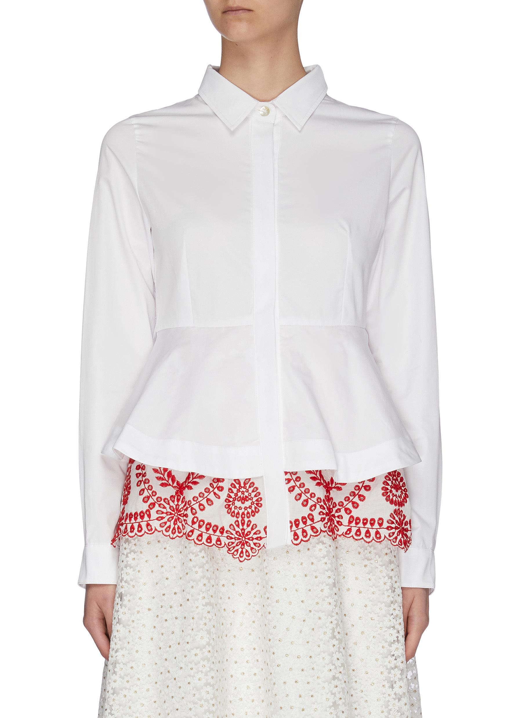 shop Jonathan Liang 'Pearl-Dandy' floral embroidered panel button-up shirt online