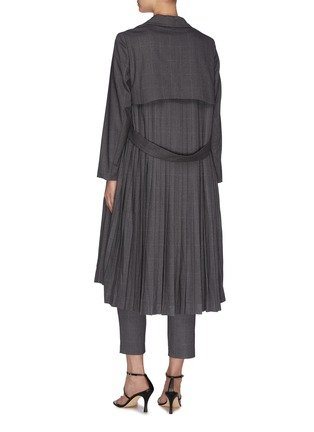 Back View - Click To Enlarge - JONATHAN LIANG - Layered pleated back asymmetric belt waterfall jacket