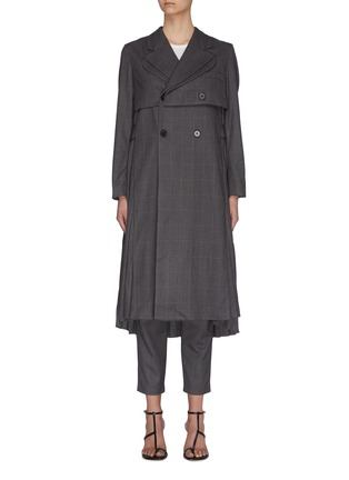 Main View - Click To Enlarge - JONATHAN LIANG - Layered pleated back asymmetric belt waterfall jacket