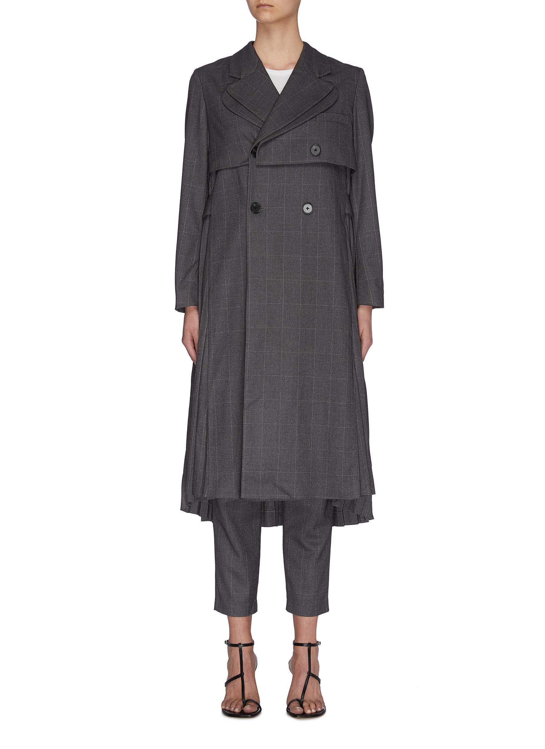 shop Jonathan Liang Layered pleated back asymmetric belt waterfall jacket online