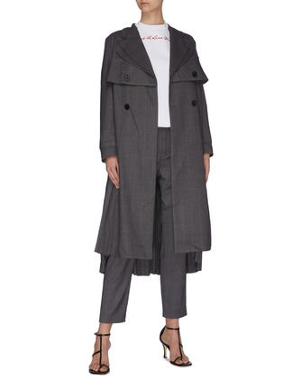 Figure View - Click To Enlarge - JONATHAN LIANG - Layered pleated back asymmetric belt waterfall jacket