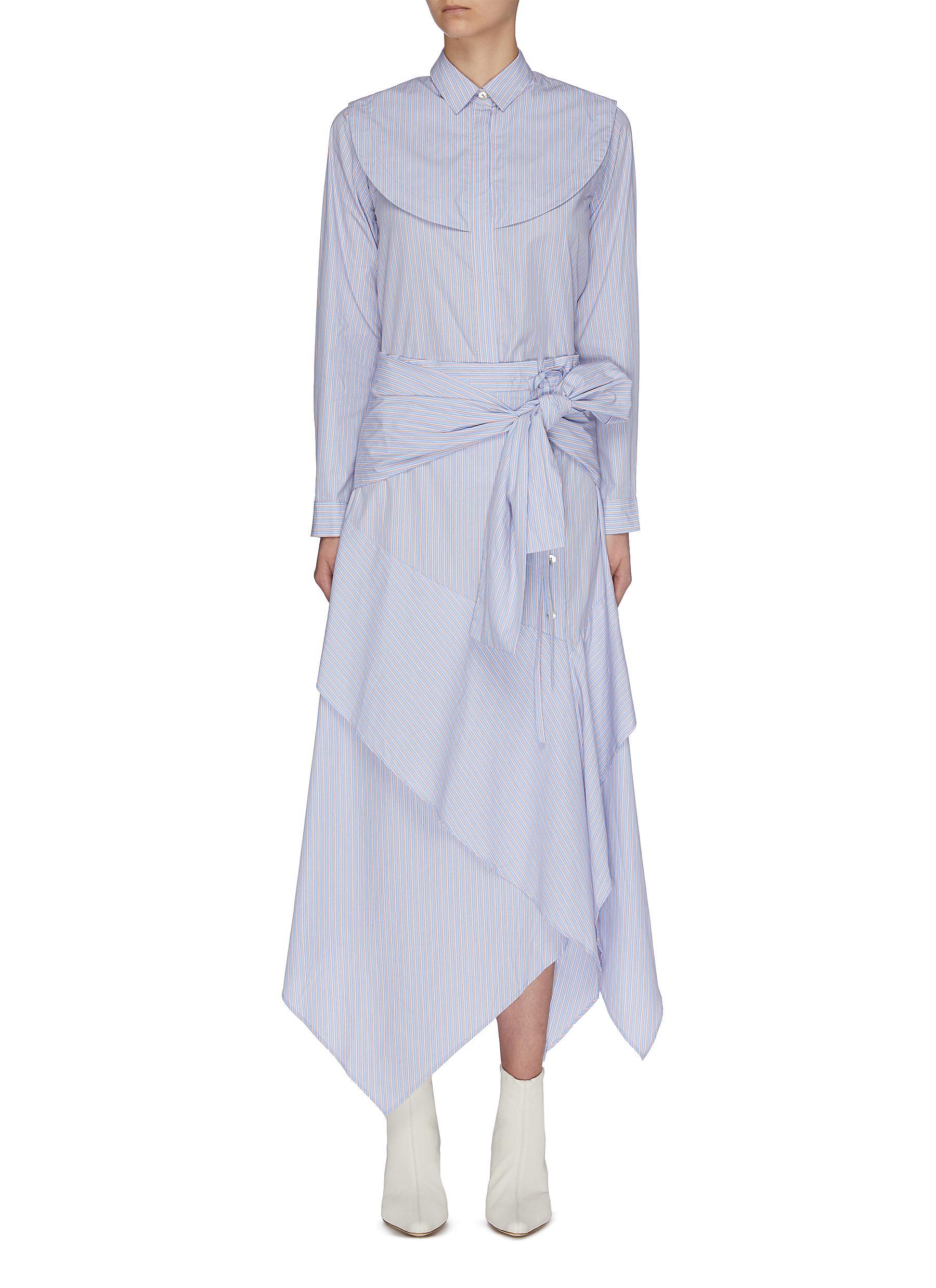 shop Jonathan Liang Asymmetric belt layered shirt dress online