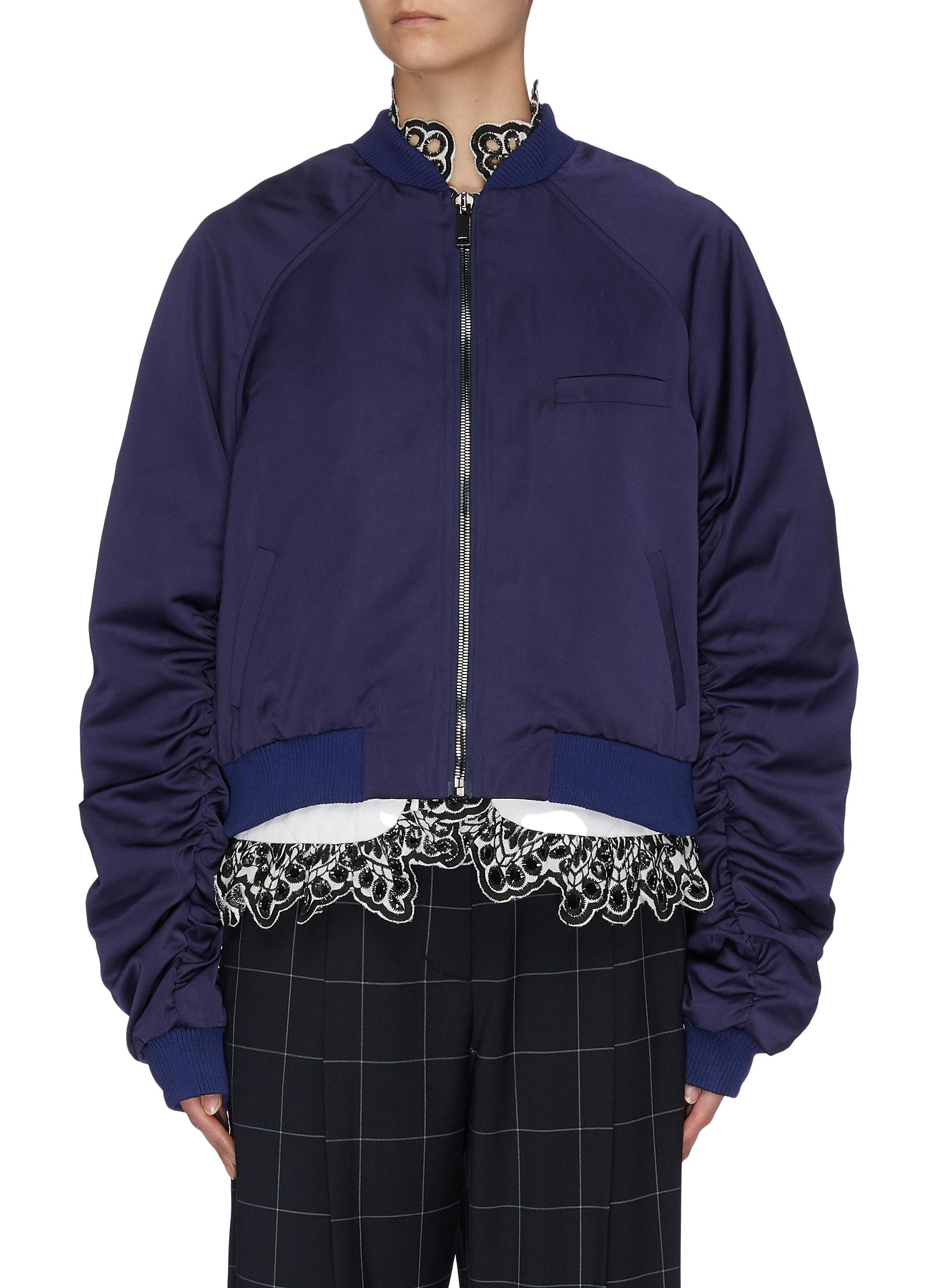 shop Jonathan Liang 'Pearl-Dandy' rib panel hem gathered sleeves bomber online