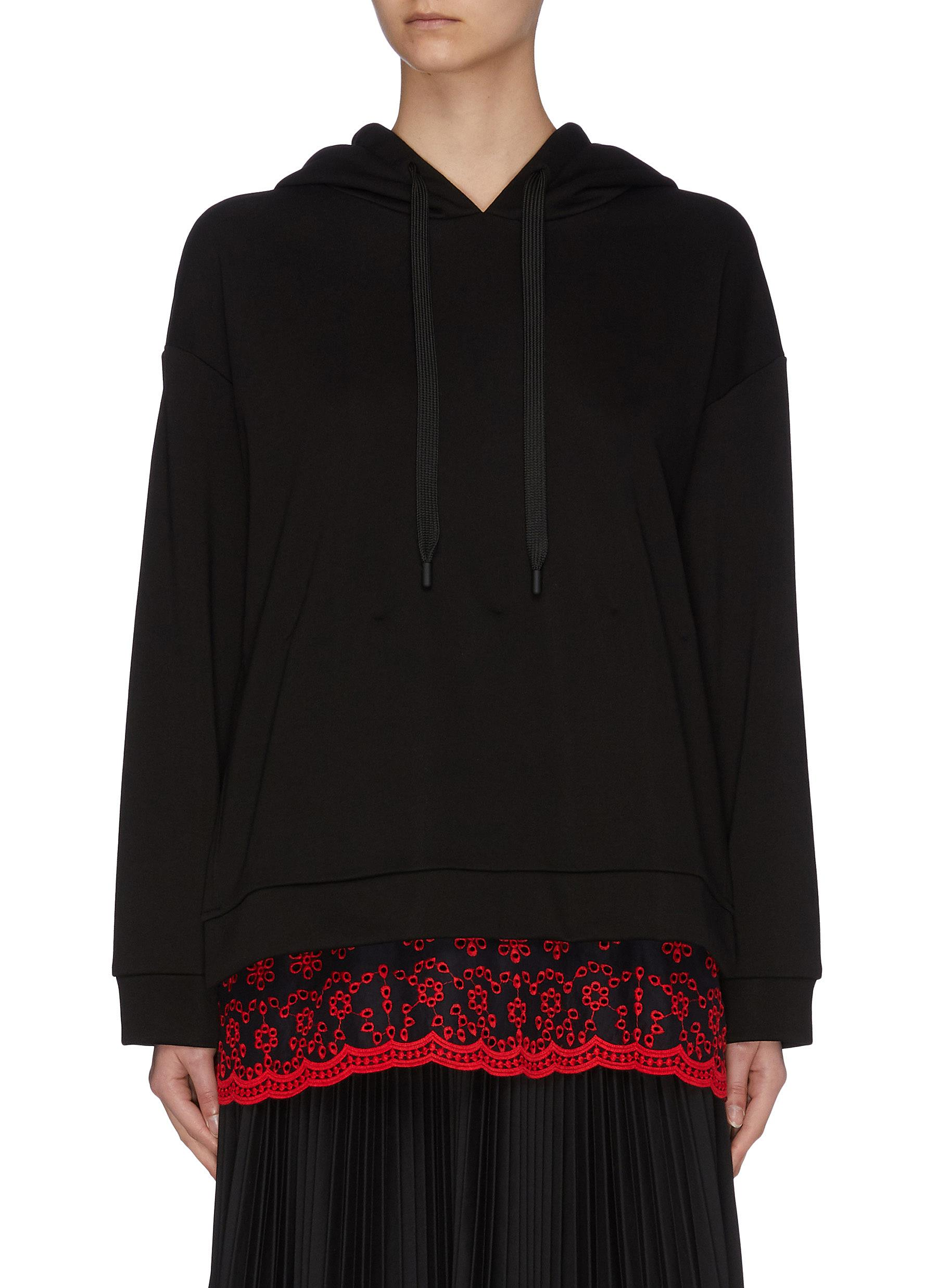 shop Jonathan Liang 'Pearl-Dandy' contrast floral embroidered panel slim hem hoodie online