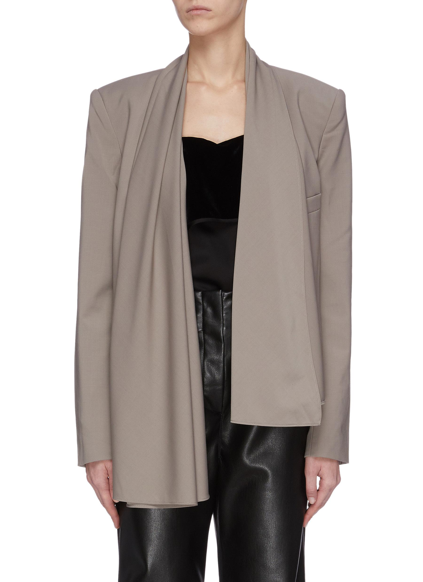 Buy Tibi Blazers 'Tropical' wool cropped scarf blazer