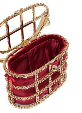 Detail View - Click To Enlarge - ROSANTICA - 'Vestale' crystal embellished caged velvet pouch bag