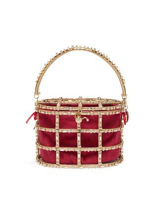 Main View - Click To Enlarge - ROSANTICA - 'Vestale' crystal embellished caged velvet pouch bag