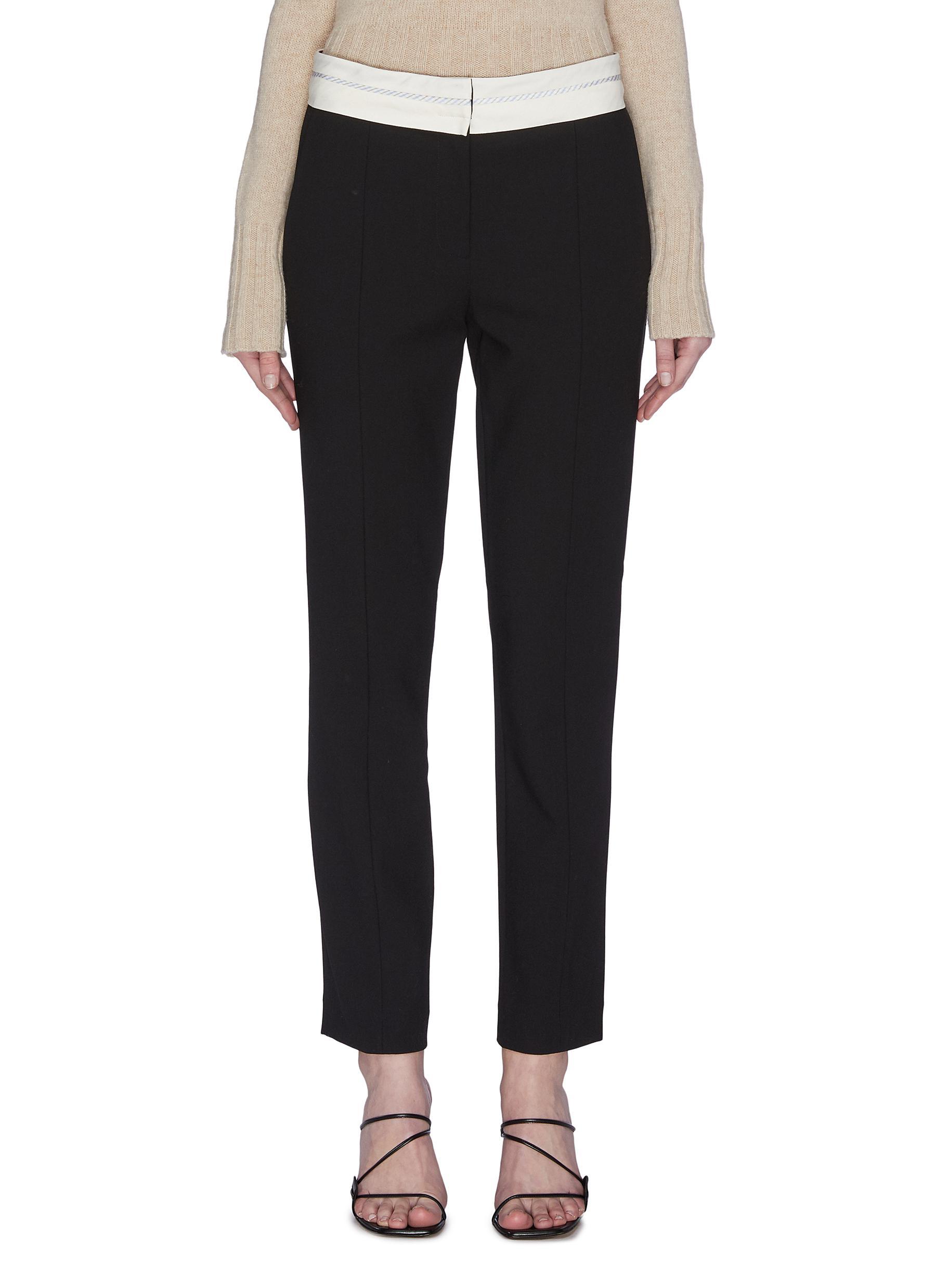 Buy Tibi Pants & Shorts 'Beatle' contrast waistband slit hem pants